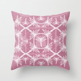 Pink Dragonfly Pattern Throw Pillow