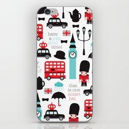 London icons illustration pattern print iPhone Skin