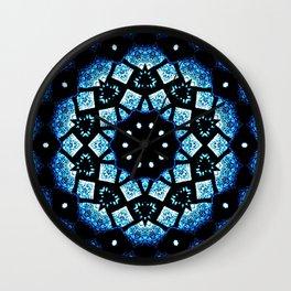 Blue Black Mosaic Kaleidoscope Mandala Wall Clock