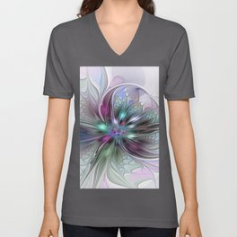 Colorful Fantasy Abstract Modern Fractal Flower Unisex V-Neck
