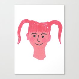"""Poppy"" Cute girl with pig tails and rosy cheeks Canvas Print"