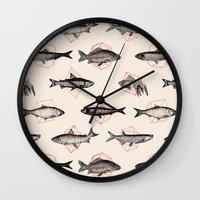 cake Wall Clocks featuring Fishes In Geometrics (Red) by Florent Bodart / Speakerine