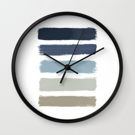 Blue & Taupe Stripes Wall Clock