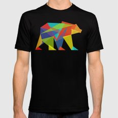 Fractal Geometric bear LARGE Black Mens Fitted Tee