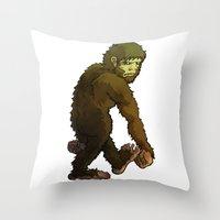 bigfoot Throw Pillows featuring Bigfoot by JoJo Seames