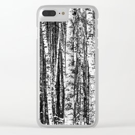 Beech Trees, White and Charcoal Gray / Grey Clear iPhone Case