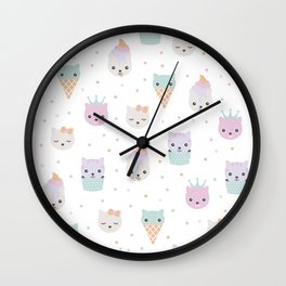 Kawaii breeze summer kitty cupcake cats and snow one ice cream kittens Wall Clock