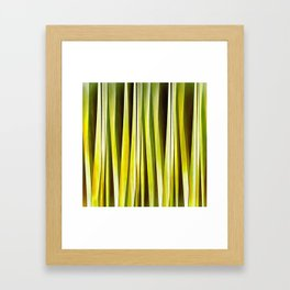 Yellow Ochre and Brown Stripy Lines Pattern Framed Art Print