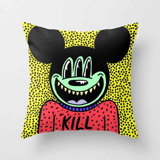 """KILL ME"".  (Mickeyes). Throw Pillow"