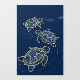 Japanese Pond Turtle / Dark Blue Canvas Print