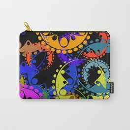 Texture of bright blue and orange gears and laurel wreaths in kaleidoscope style on a black backgrou Carry-All Pouch