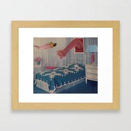 blue bed Framed Art Print