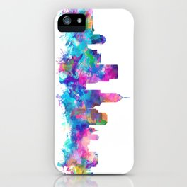 indianapolis city skyline watercolor 4 iPhone Case