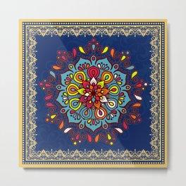 V10 Moroccan Art Traditional Floral Design Metal Print