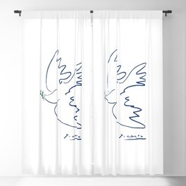 Pablo Picasso Dove Of Peace In Blue 1949 Artwork Reproduction Blackout Curtain