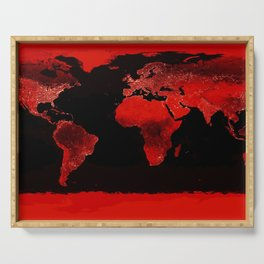 WORLD map : Red Serving Tray