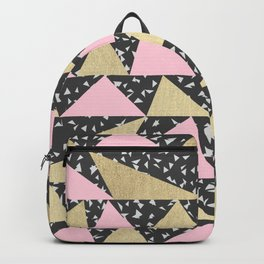 Black White Triangle Pink Gold Geometric Triangles Backpack