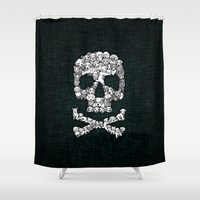 punisher Shower Curtains featuring Skull Dogs Halloween by aleha