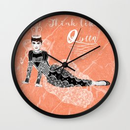 Think like a Queen : Audrey Hepburn Quote Wall Clock