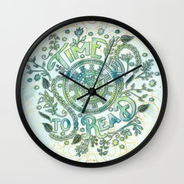 Time To Read - Watercolor Green Wall Clock