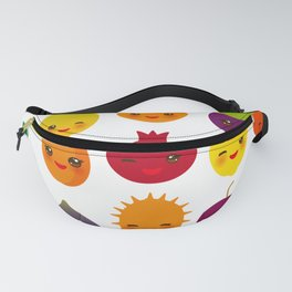 kawaii fruit Pear Mangosteen tangerine pineapple papaya persimmon pomegranate lime Fanny Pack
