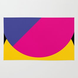 Black sky. The yellow sun is hidden by an half purple half violet Ufo. Rug