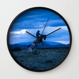 Santa Fe Cowboy Being Bucked Off Wall Clock