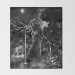 XVII. The Star Tarot Card Illustration Throw Blanket