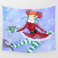 elf Wall Tapestries featuring Christmas Elf by MontesMora