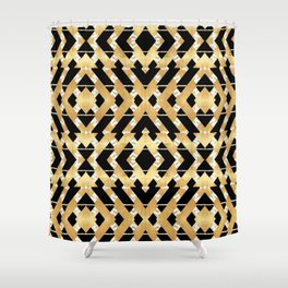 Gold Foil and Black Art Deco Chevron Shower Curtain