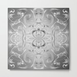 elegant silver Digital pattern with circles and fractals artfully colored design for house Metal Print