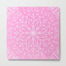 Single Snowflake - Pink Metal Print
