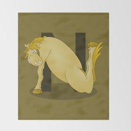 Pony Monogram Letter N Throw Blanket