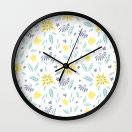 teal, grey flora and yellow flowers Wall Clock