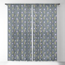 Violet Tulips Floral Pattern (navy/teal theme) Sheer Curtain