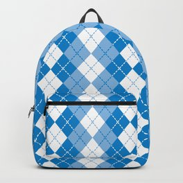 Argyle Design in Blue and White Backpack