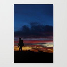 Sunset Walkies Canvas Print