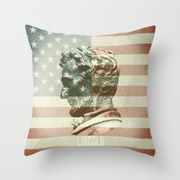 lincoln Throw Pillows featuring Lincoln by Gusvili