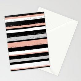 Stripes - Peach Grey Black White Stationery Cards