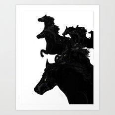 Black Horses Art Print