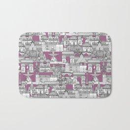 Paris toile raspberry Bath Mat