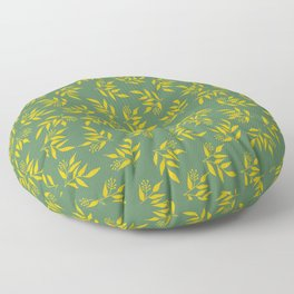 Leaves pattern - Green yellow Floor Pillow