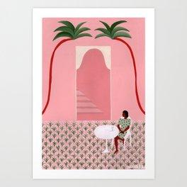 La cour intérieure rose Art Print
