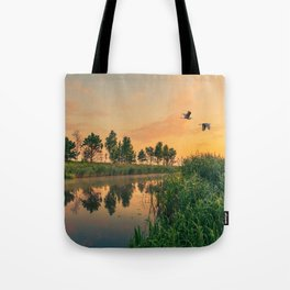 Summer dawn on a small river Tote Bag