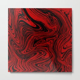Red and black marble pattern Metal Print