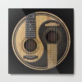 Aged Vintage Acoustic Guitars Yin Yang Metal Print