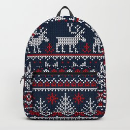 Ugly sweater Merry Christmas Happy New Year vintage nodric illustration knitted pattern folk style scandinavian ornaments. Navy, red, blue colors. Backpack