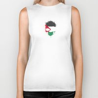 palestine Biker Tanks featuring Flag of Palestine on a Chaotic Splatter Skull by Jeff Bartels