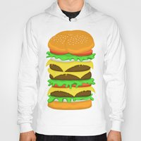 novelty Hoodies featuring Burger Sandwich by Berberism