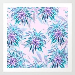 Pink & Aqua Plant Pattern on Pale Pink Art Print